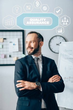 Smiling investor with crossed arms looking away near quality assurance illustration