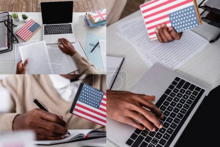 collage of african american interpreter working with documents, digital translator, laptop and dictionaries in translation agency, cropped view