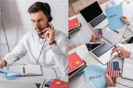 """collage of interpreter in headset working with digital translator near paper with chinese hieroglyphs. Translation: """"international contract"""