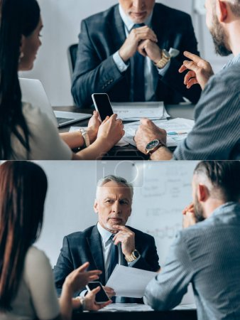 Collage of businesspeople with smartphone talking to mature investor near documents in office