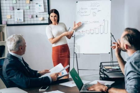 Smiling businesswoman pointing at flipchart with graphs near investor and colleague with laptop on blurred foreground