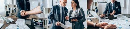 Photo pour Collage d'une femme d'affaires souriante montrant un carnet à l'investisseur et aux hommes d'affaires serrant la main au bureau, bannière - image libre de droit