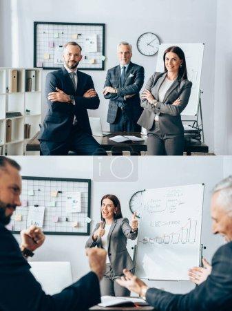 Photo pour Collage d'hommes d'affaires souriants regardant la caméra et montrant comme geste près de tableau à feuilles mobiles dans le bureau - image libre de droit