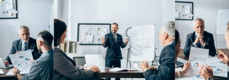 Collage of smiling businessman showing yeah gesture near flipchart and working with papers and colleagues in office, banner