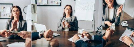 Photo pour Collage d'une femme d'affaires montrant un geste d'arrêt et tenant de l'argent près de partenaires sur le premier plan flou au bureau, bannière - image libre de droit