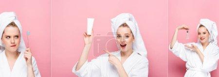 Photo pour Collage de jeune femme en peignoir avec serviette sur la tête avec brosse à dents, sérum et crème pour les mains isolé sur rose, bannière - image libre de droit