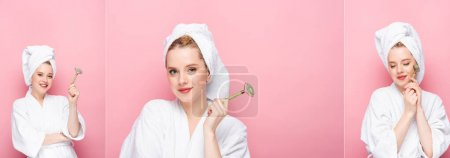 collage of young woman in bathrobe with towel on head and jade roller isolated on pink, banner