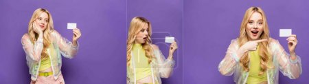 collage of emotional blonde young woman in colorful outfit holding blank card on purple background, banner