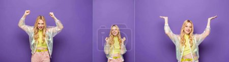 collage of emotional blonde young woman in colorful outfit gesturing on purple background, banner