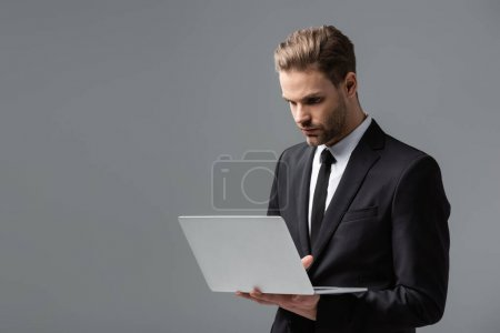 young, concentrated businessman using laptop isolated on grey