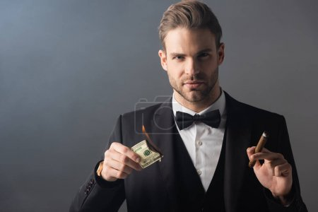 wealthy businessman holding cigar and burning dollar banknote on grey background with smoke