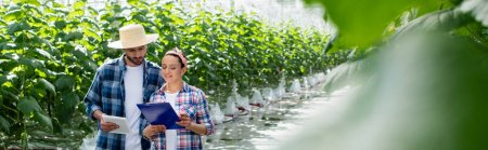 interracial farmers with digital tablet and clipboard in greenhouse on blurred foreground, banner