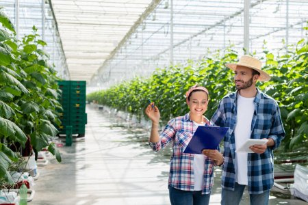 smiling african american farmer pointing with hand near happy colleague holding digital tablet