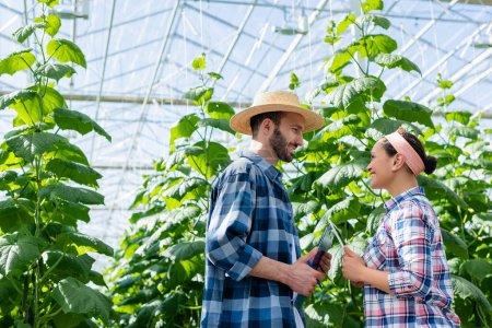 Photo pour Heureux interracial agriculteurs avec tablette numérique et presse-papiers parler en serre - image libre de droit