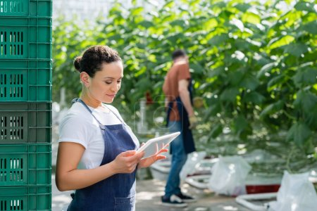 african american farmer looking at digital tablet near colleague working on blurred background