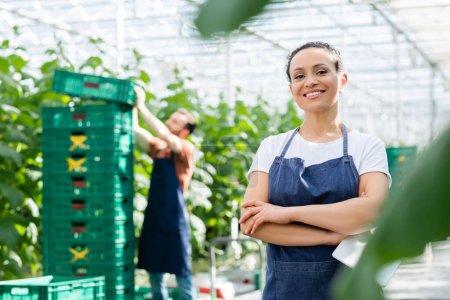 Photo pour Heureuse femme afro-américaine debout avec les bras croisés près agriculteur travaillant sur fond flou - image libre de droit