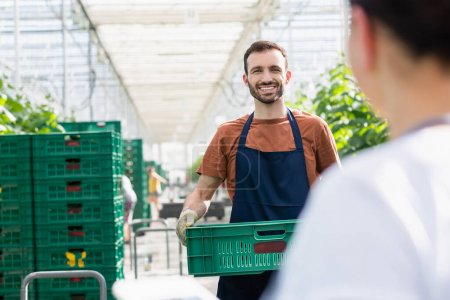 Photo for Cheerful farmer holding plastic box in greenhouse near colleague on blurred foreground - Royalty Free Image