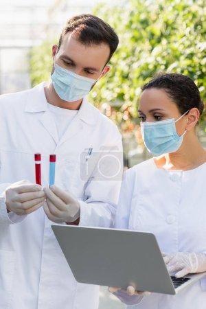 inspecteurs de qualité interracial dans les masques médicaux travaillant avec un ordinateur portable et des éprouvettes en serre