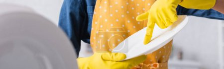 Photo for Cropped view of housewife in rubber gloves holding plate, banner - Royalty Free Image
