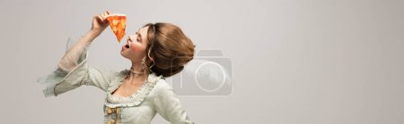 vintage style woman with closed eyes eating tasty pizza isolated on grey, banner