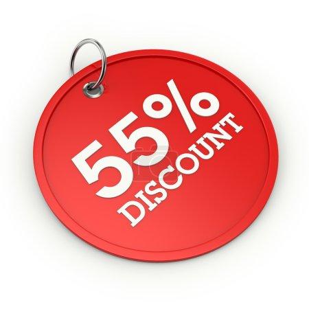 Photo pour Red Tour tag de 55 % de réduction sur fond blanc - image libre de droit