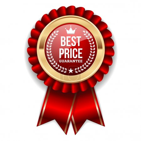 Gold best price badge with ribbon