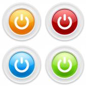 Colorful round buttons with start icon on white background