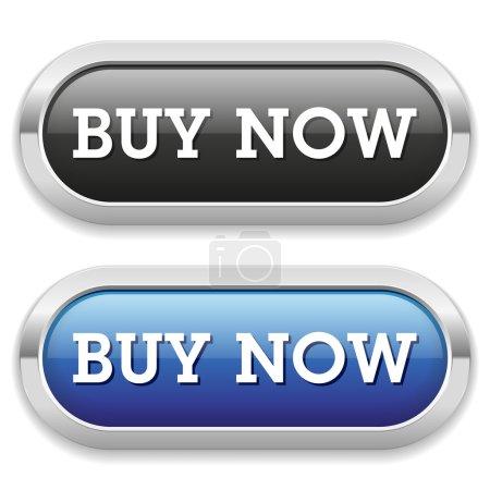 Illustration pour Boutons longs noir et bleu acheter maintenant avec bordure métallique - image libre de droit