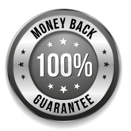 Illustration for Black silver money back badge on white background - Royalty Free Image
