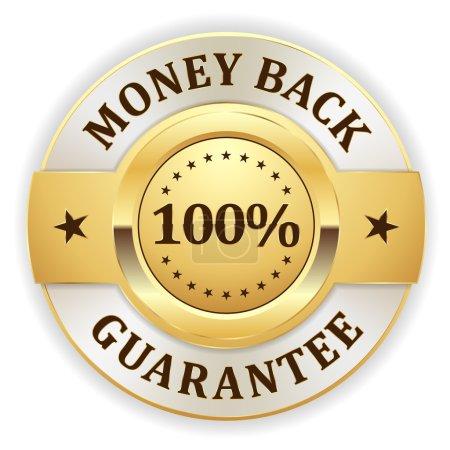 Illustration for Gold money back badge on white background - Royalty Free Image