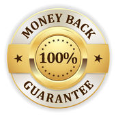 Gold money back badge on white background