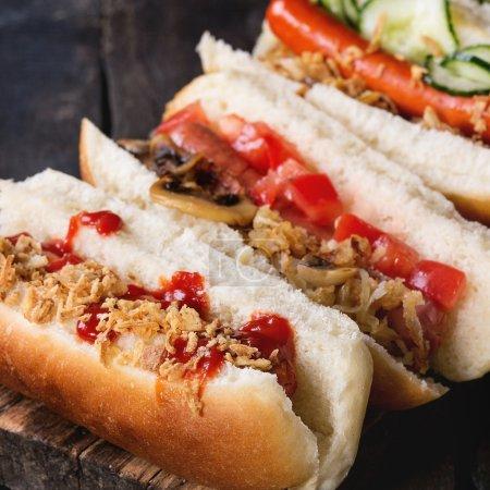 Assortment of homemade hot dogs