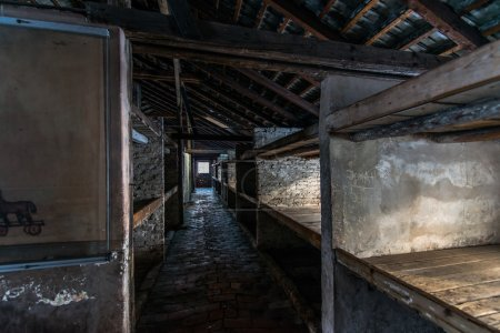 Inside of a barracks of the Nazi concentration camp Auschwitz Bi