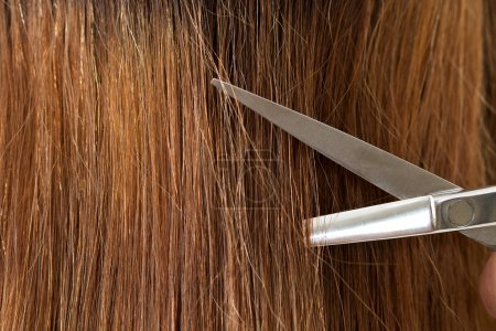 Close up view of hairdresser scissors cutting hair