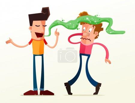 Illustration pour Le jeune homme s'énerve à cause de la mauvaise haleine de son ami - image libre de droit