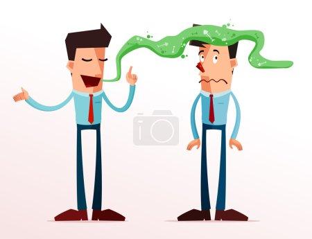 Illustration pour Jeune homme d'affaires se fâcher à cause de la mauvaise haleine de son partenaire - image libre de droit