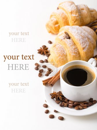 Photo for Breakfast with coffee and croissants on table - Royalty Free Image