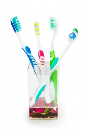 Colorful family toothbrushes isolated on white background