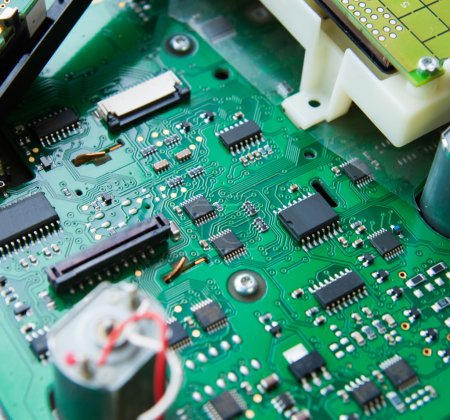 Photo for Computer PCB with electronic components - Royalty Free Image