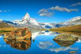 Summer landscape with Matterhorn peak and Stellisee lake,Valais,Switzerland