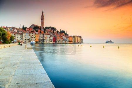 Stunning sunset with Rovinj old town,Istria region,Croatia,Europe
