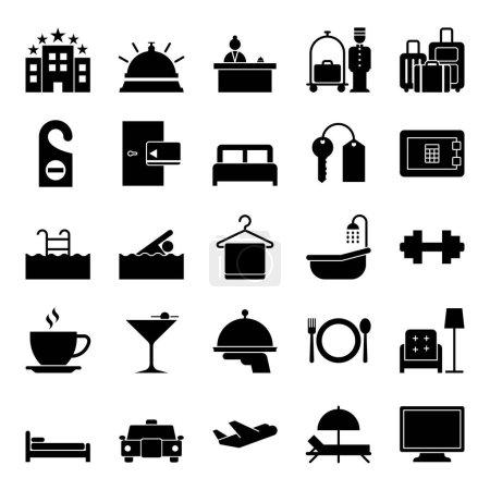 Illustration pour Collection icône hôtel - silhouette vectorielle et illustration - image libre de droit