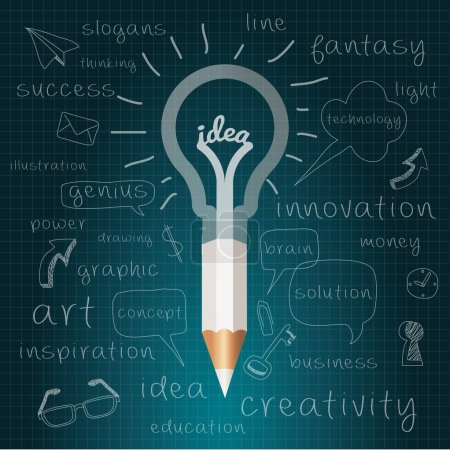 Illustration for Idea, Pencil with Light bulb with drawing business success strategy plan, Inspiration modern design concept template workflow layout. Vector Illustration Easy editable for Your design. - Royalty Free Image