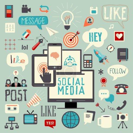 Illustration pour Les médias sociaux signe et le symbole. poster, aimez, suivez message icon set de dessinés à la main vector illustration. facilement modifiable pour votre conception. - image libre de droit