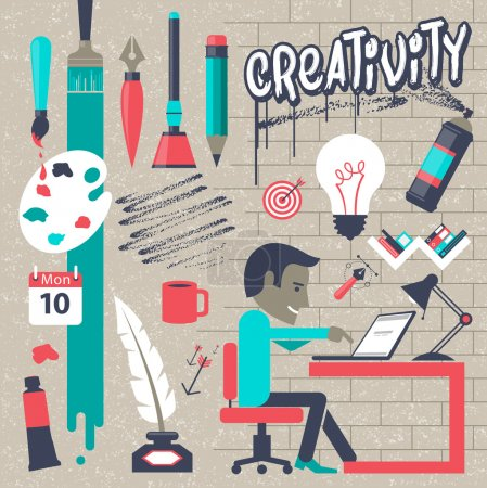 Illustration pour Creativity Hand drawn vector illustration icon set. Easy editable for Your design. - image libre de droit