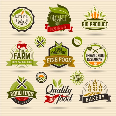 Illustration for Organic and Ecology Web Icon Set. Eco Logo Organic Food Label and Element Set easy editable for Your design. - Royalty Free Image