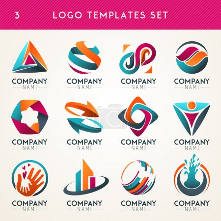 Illustration for Set of abstract logo, web Icon and globe vector symbol. Unusual icon set. Graphic design of logo elements easy editable for Your design. Modern logotype icon. - Royalty Free Image