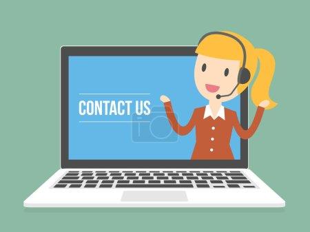 Illustration pour Contactez-nous. Agent du service client. Illustration conceptuelle des technologies de l'information en ligne . - image libre de droit