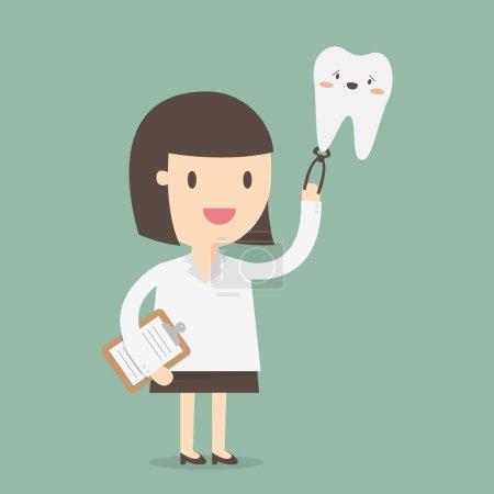Illustration pour Dentiste féminine, illustration vectorielle - image libre de droit