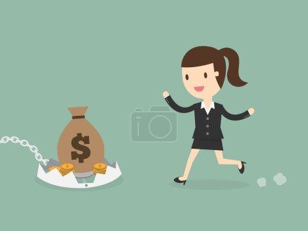 Illustration pour Concept de risque financier. jeune femme d'affaires regarder l'argent sur le piège. - image libre de droit